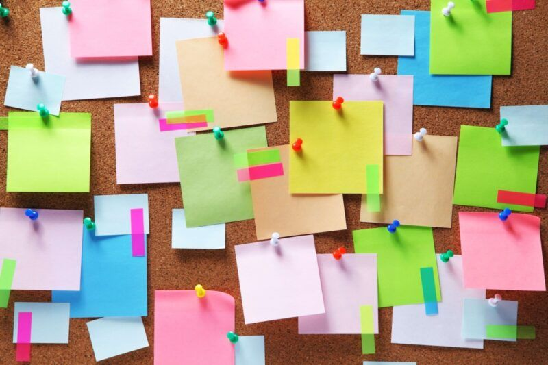 Pinterest boards with post it notes