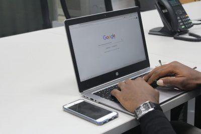 Laptop promoting Google My Business