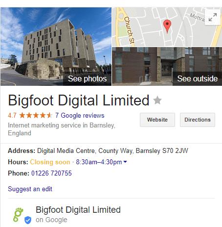 Bigfoot Digital Google My Business Rich Snippet
