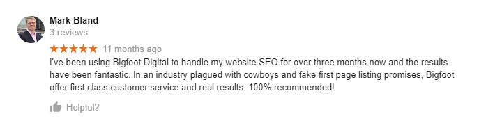 Bigfoot Digital Google Review