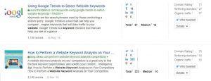 Website keyword results