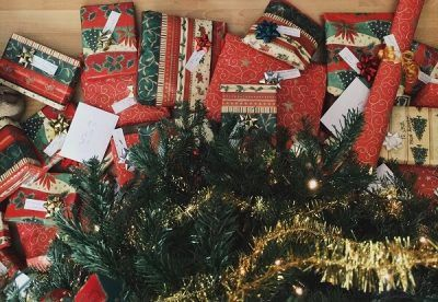 evergreen tree with presents