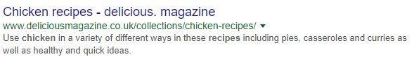 google search results for a recipe