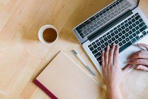 SEO keyword research on a laptop