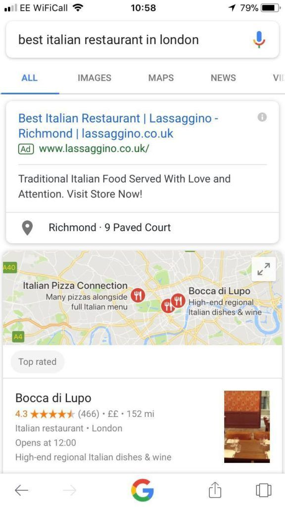 SEO for local business in search results