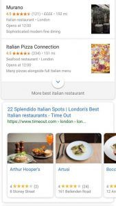 Local SEO shown in SERPs