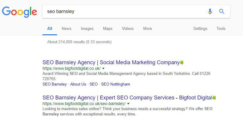 Google results for SEO Barnsley