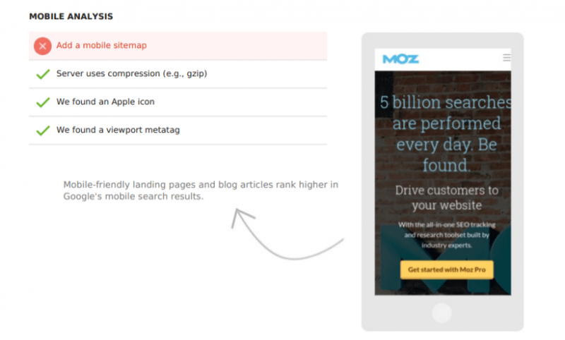 Mobile Optimsitation points shown on SEO site audit