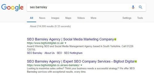 Best SEO company results for 'SEO Barnsley' keyword