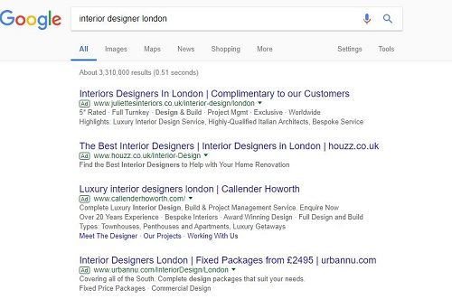 Paid search results from successful website marketing
