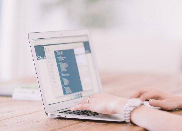 Corporate website design on a laptop.