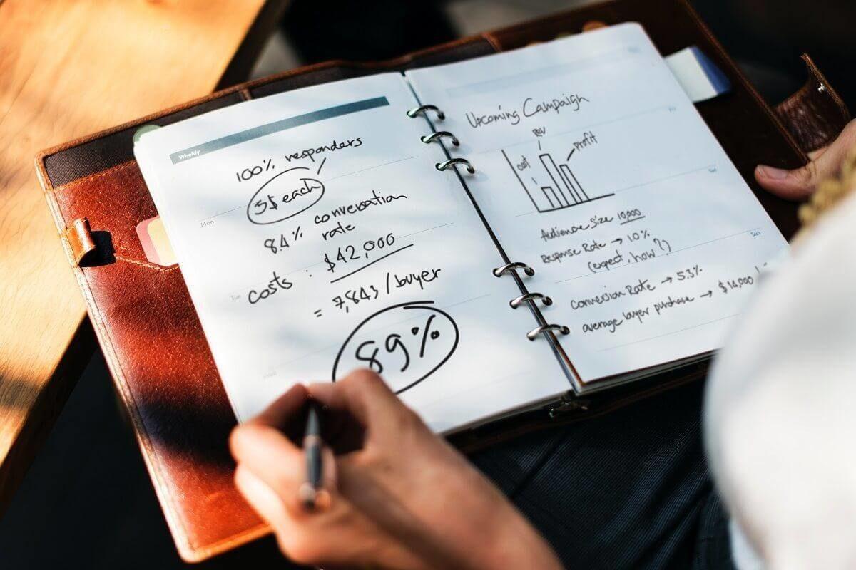 man organising a Social Media Marketing Plan in a notebook