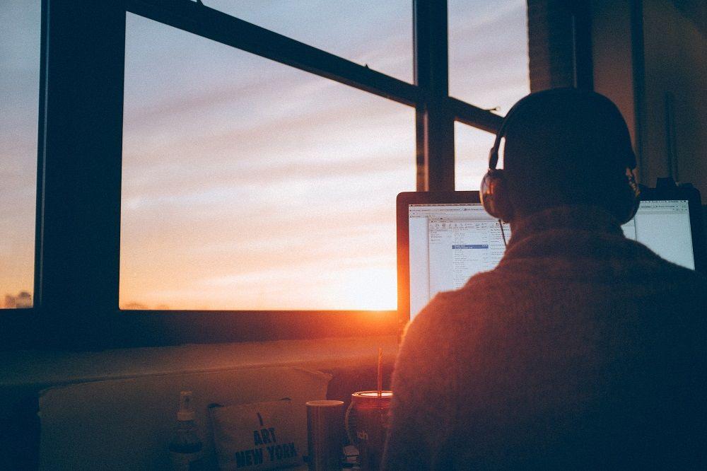 Business website design Manchester employee designing a website.