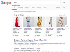ecommerce seo for the word dress.