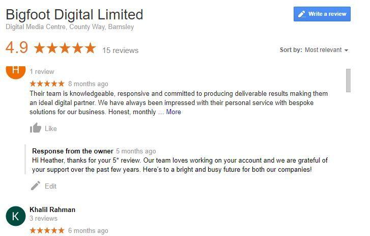 Google Reviews for Bigfoot Digital.