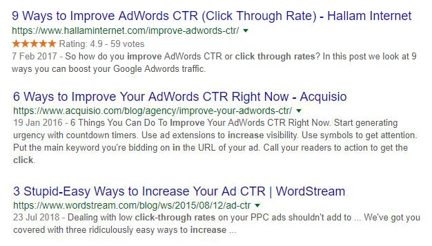SEO technique to improve click through rate.