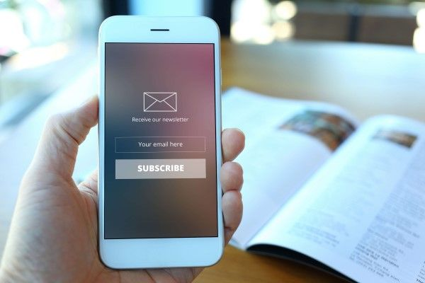Email marketing Sheffield on a mobile phone