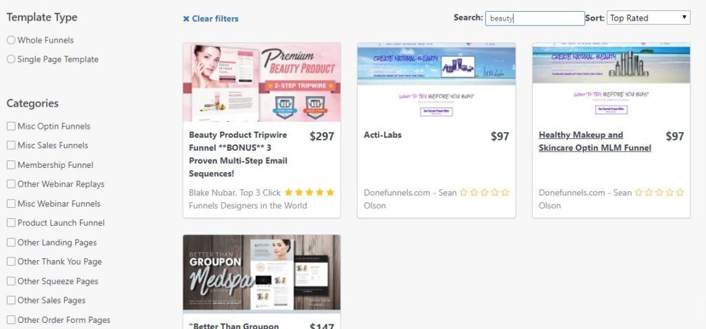 Beauty templates on the Clickfunnels marketplace.