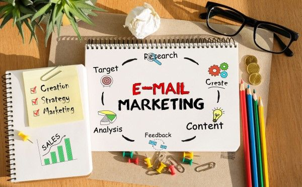Email marketing Birmingham planning in a notebook