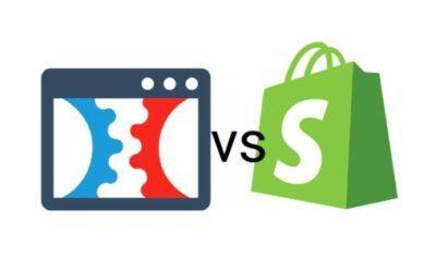 Clickfunnels vs shopify logos