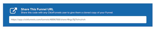Clickfunnels share funnel URL bar.