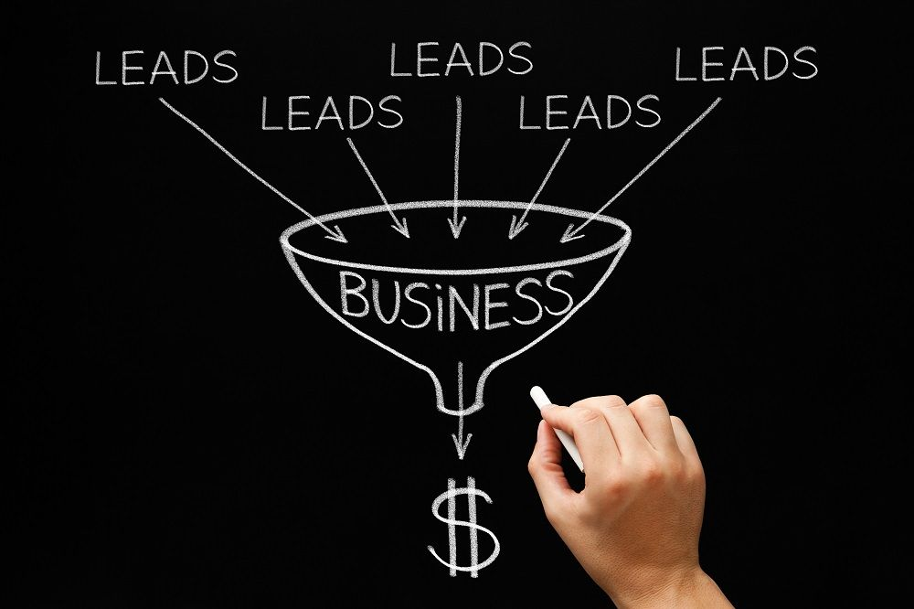 Person showing the top of the funnel marketing.