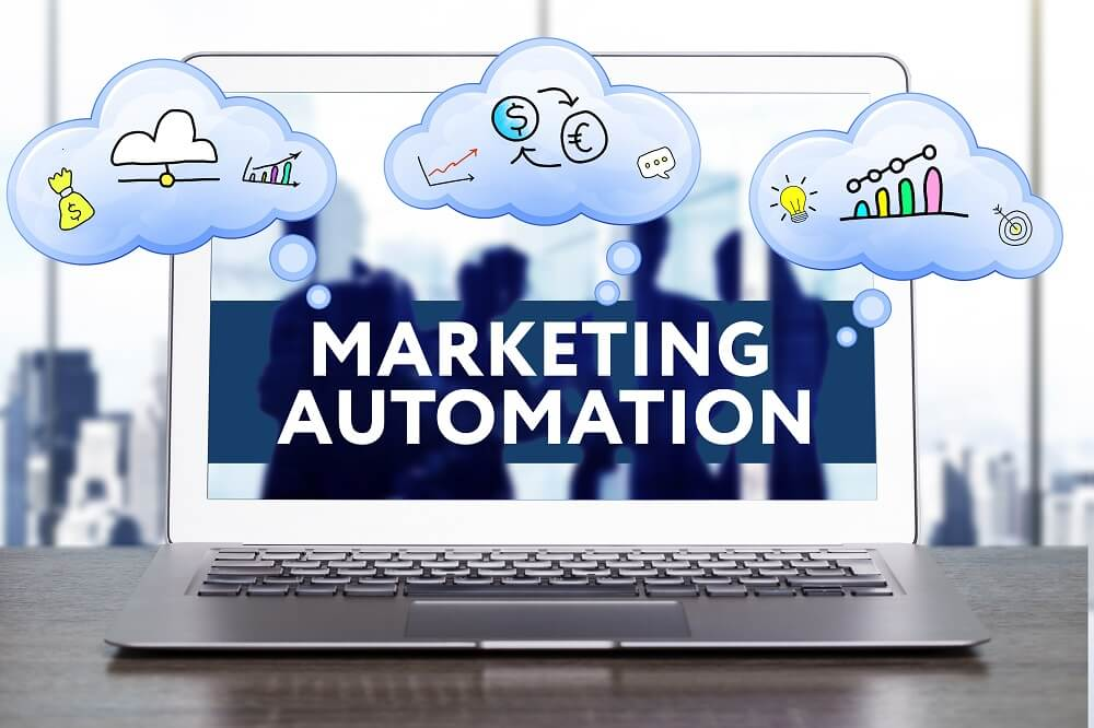 marketing funnel automation on laptop