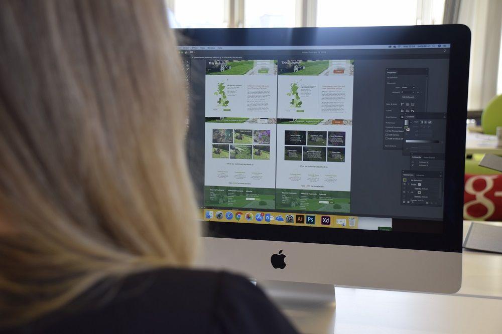 Designer working on an ecommerce website design for a client.