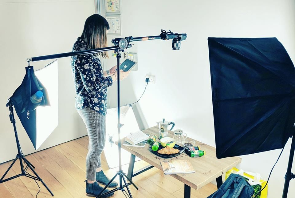 Pinterest advertising agency working on a photoshoot.