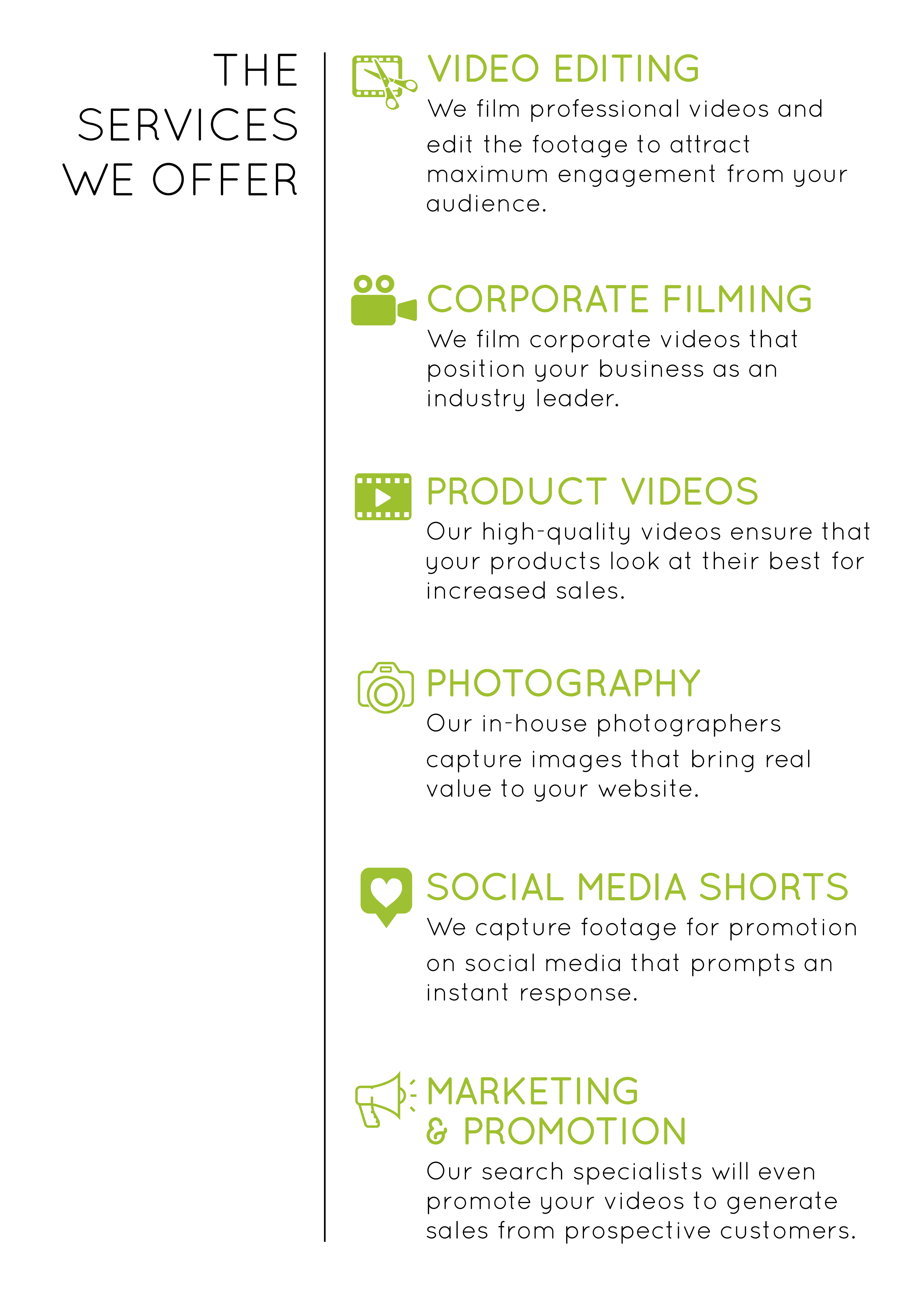Video production services banner.