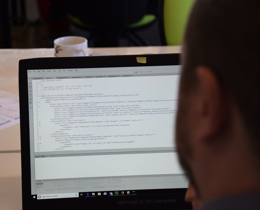 Website design services on a laptop screen.