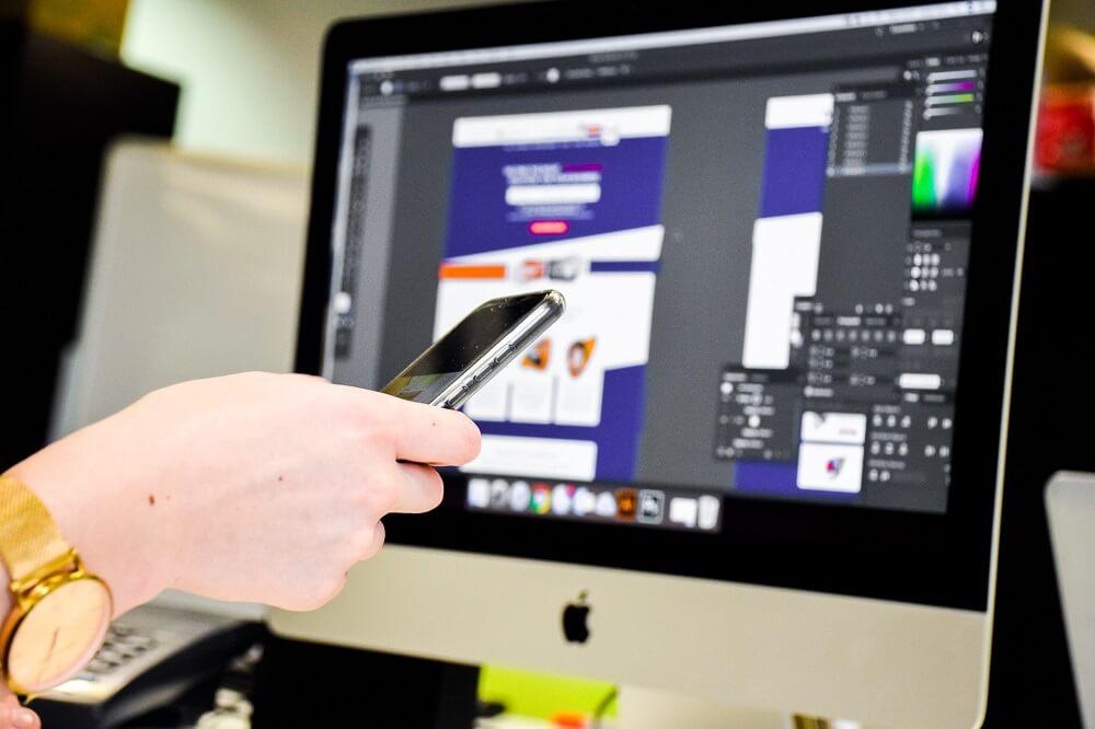 web design huddersfield designer on screen