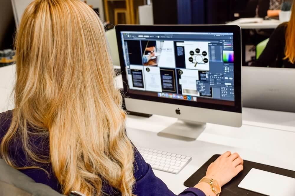 website design huddersfield designer working on computer screen